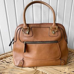 London Fog Cognac Faux Leather Satchel